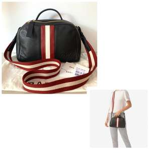 c107b021a52 almost like new cakep banget Bally sling black grained leather comes with  dustbag paperbook