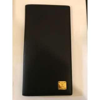 Authentic MCM Black Leather Passport Boarding Pass Travel Wallet