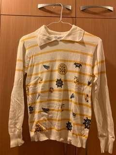 🚚 全新白色條紋針織衫