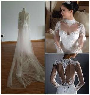 80dd25cdae4c8 New Custom Beaded Crystal Lace Sweetheart Illusion Blush Pink Cathedral Wedding  Gown Dress M L XL Ann
