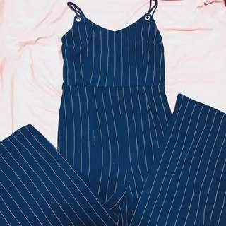 Navy Blue Striped Jumpsuit