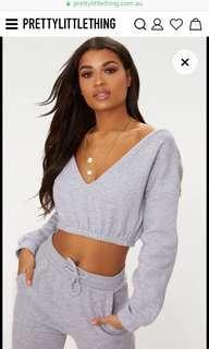 PLT off-shoulder knit crop top