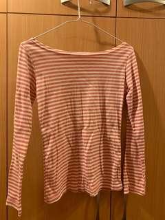 🚚 粉紅色條紋上衣