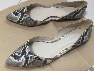 Charles & Keith Snake print point toe flats