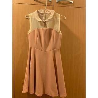全新裸粉色透膚拼接洋裝
