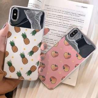 [PO] pineapple / peach mirror iphone case