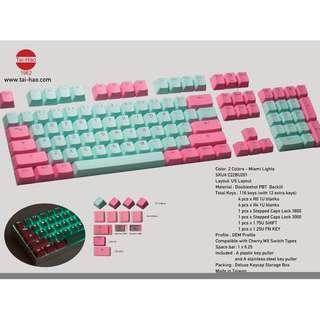 Tai-Hao PBT Backlit Gaming Keycaps - MIAMI Lights - 116 KEYS *PRE-ORDER*