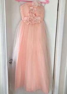 粉橙蝦肉色薄紗婚紗大花花長晚裝party Bridesmaid peach Dress Bridesmaid Dress