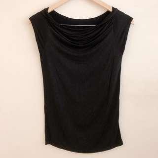 Black cowl neck blouse with cap sleeves #SnapEndGame
