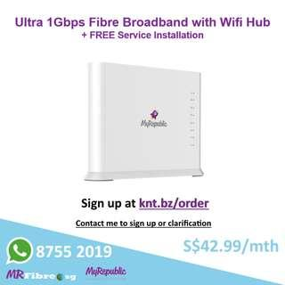 Ultra 1Gbps Fibre Broadband with Wifi Hub