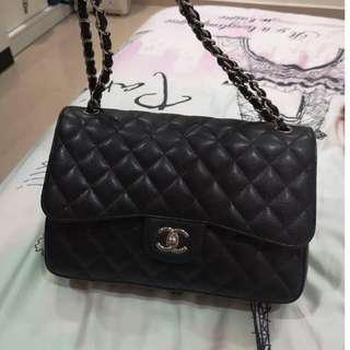 Classic flap chanel jumbo double flap with caviar leather