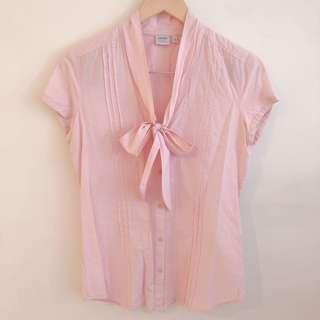 Esprit pink button up short sleeve blouse with v neck ribbon tie #SnapEndGame
