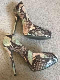 Tony bianco size 7 snake heels. Worn once . Excellent condition