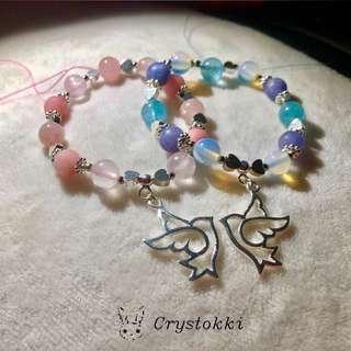 Best Friends Forever BFF Bracelets (Handmade Blue Jade x Moonstone X Aquamarine Crystal Bracelet + Handmade Pink Jade x Rose Quartz Bracelet)