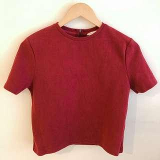 Padini red velvet short sleeve blouse #SnapEndGame