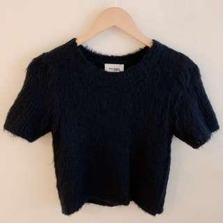 Monki blue furry short sleeve blouse #SnapEndGame