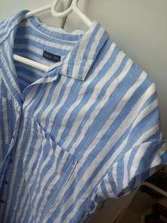 Striped blue/white top with collar and buttons