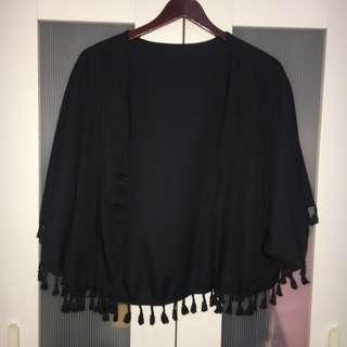 Black Fringed cardigan #APR10