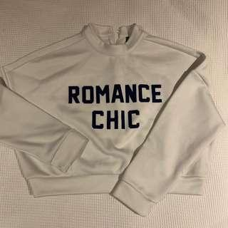 ROMANCE CHIC white & navy cropped sweatshirt