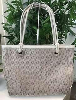 Authentic Oroton Entourage Leather Canvas Tote Bag Cream/ Beige Preowned Used Once Excellent Condition