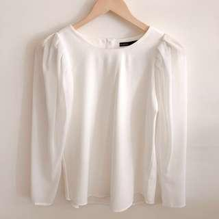 Padini white blouse with sheer long puff sleeves #SnapEndGame
