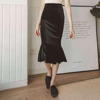 絨面法式魚尾裙