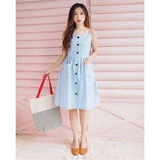 NEW! Button Dress Baby Blue / Biru Muda