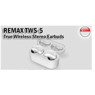 ★Original★ Remax TWS-5 True Wireless Stereo Earbuds 5.0 Magnetic Charging Case Touch Sensing Calls and Music