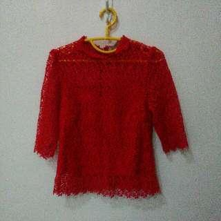 1x Moscato Top Baju Import Red Blouse