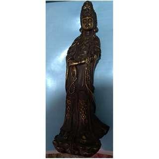銅鎏金觀音(高約26cm)