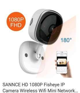 SANNCE 1080P Fisheye IP Camera Wireless CCTV Wifi Night Vision IR Home Security