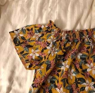 temt mustard floral off shoulder crop top
