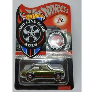 HOT WHEELS - DATSUN 510 RLC MEMBERSHIP - GREEN - WITH PATCH AND BUTTON