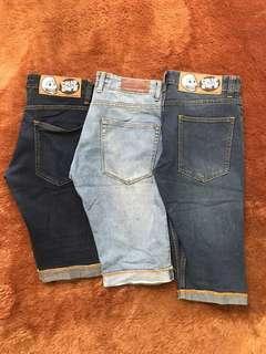 80ribu dapat 3 celana jeans pendek size 29/30