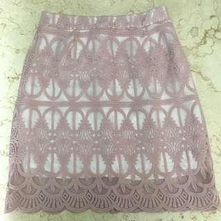 Lace skirt dusty pink
