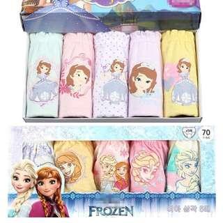 Frozen / Sofia 女童純棉三角內褲 5 條裝 #kids300