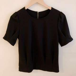 Black blouse with gathered tuck sleeves and hem #SnapEndGame