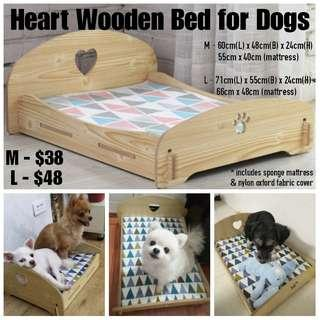 Heart Wooden Bed for Dogs
