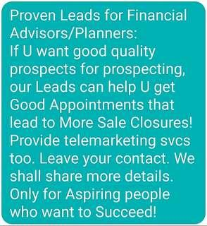 Proven Good Leads for Financial Advisors/Planners.