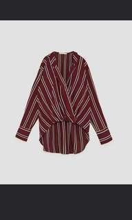 Zara burgundy cross flowing shirt blouse bukan h&m bershka