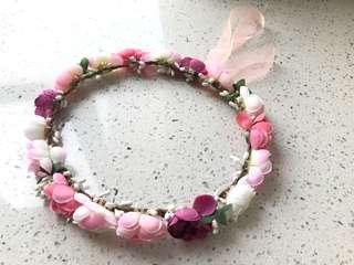 粉色假花花環