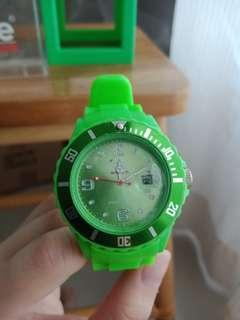 Neon Green Silicon Ice Watch