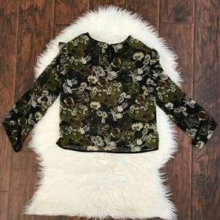 Zara Basic Collection Green Floral Semi Cropped Top