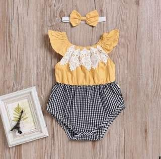 BN Baby Girl Yellow Embroidered Flutter Sleeves Romper with Bow for 6-12mths!