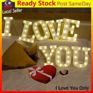 Alphabet LED Letter Light I love You Valentine Lampu Romantic