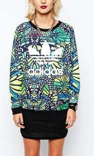 Adidas Originals Green Butterfly Printed Sweat Shirt