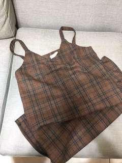 格紋吊帶裙
