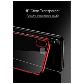 🚚 Ultra Slim Luxury Red Electroplated Anti-Shock Clear Case