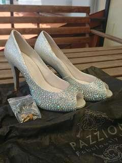 Pazzion Silver Heels with Crystals