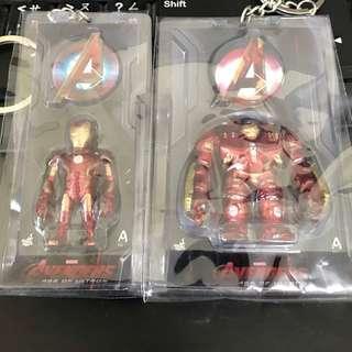 Hottoys Avengers Age Of Ultron IRONMAN mark 43 + mark 44 HULKBUSTER artist mix figure 鎖匙扣